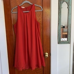 Large Maurices Red Slip Dress w/ Lace Underlay